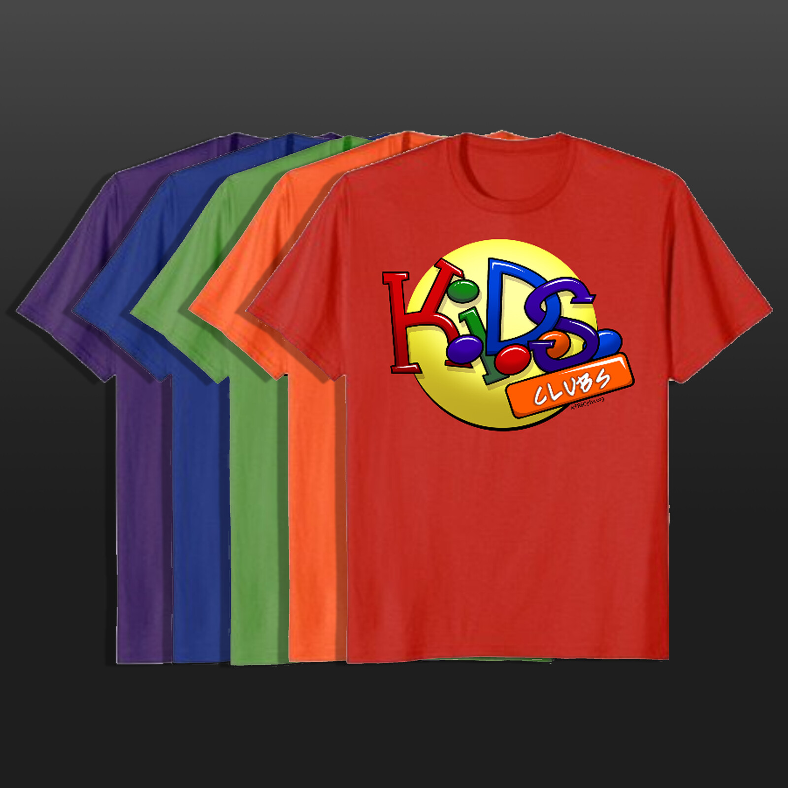 Mock-up of Colorful T-Shirts printed for K.I.D.S. Club