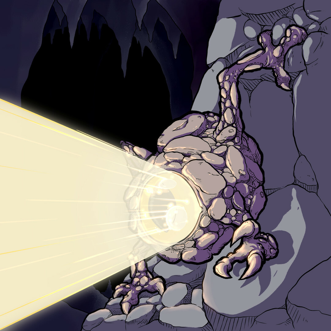 A small underground monster that crawls across the cavern wall with its four clawed hands. It has a single large eye which can shine with its own light, otherwise its stony skin blends in with the rock. It has no mouth and is said to feed on evil alone.