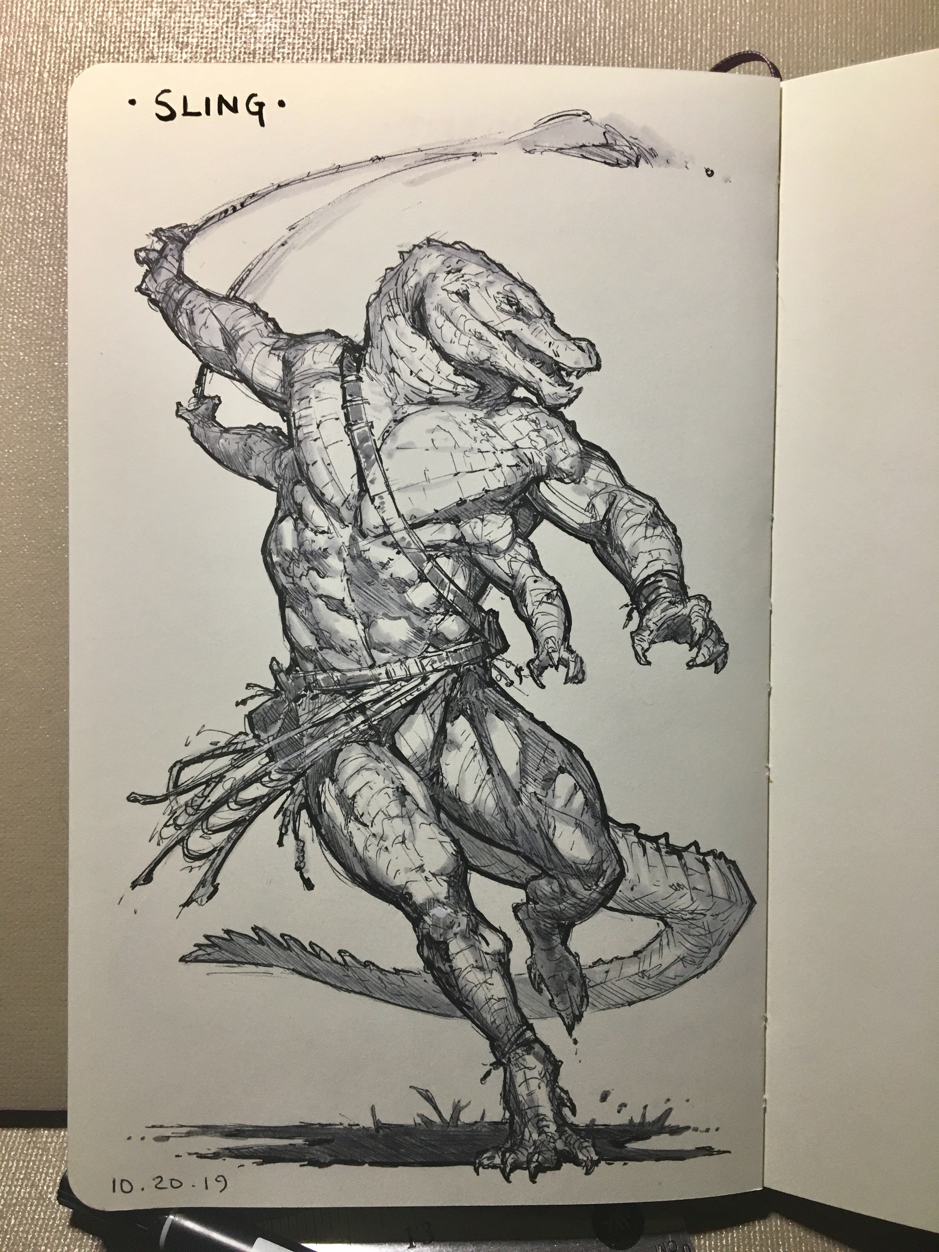 Day 19 of inktober 2019! Sling! Outta the way for the Four armed Gator dude!!😱🐊 What is it with me and the four armed characters right now? 😅