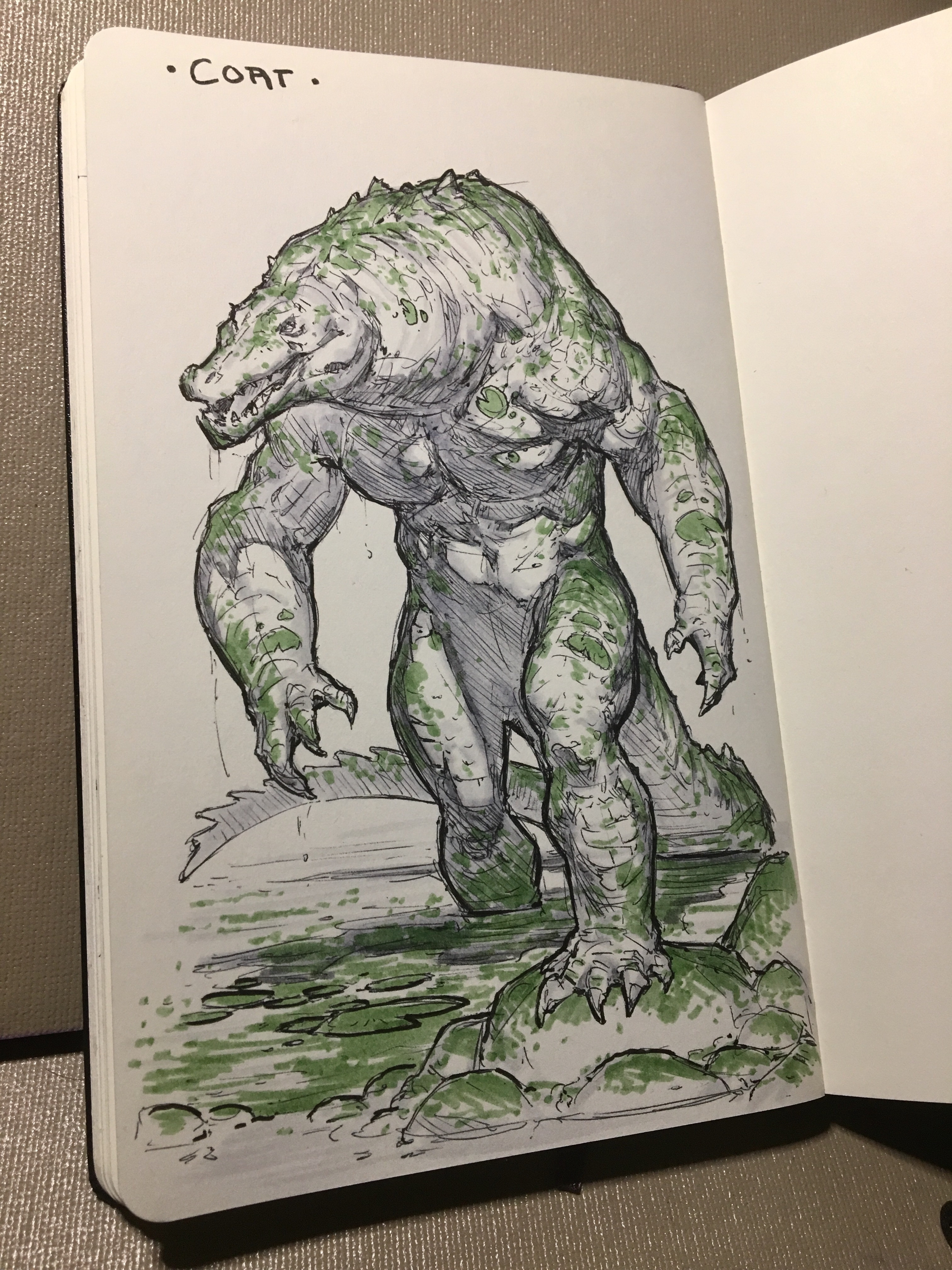 Day 27 of inktober 2019! Coat! He's lean, he's mean and he's... covered in green? Algae... it gets everywhere. 😅