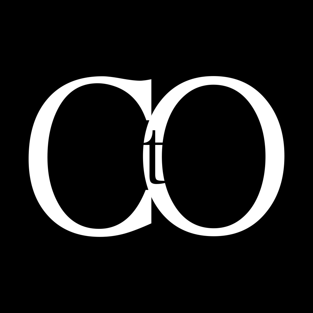 Static version of the CtO acronym logo (White on Black)