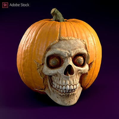 Adobe Stock | Pumpkin Skull