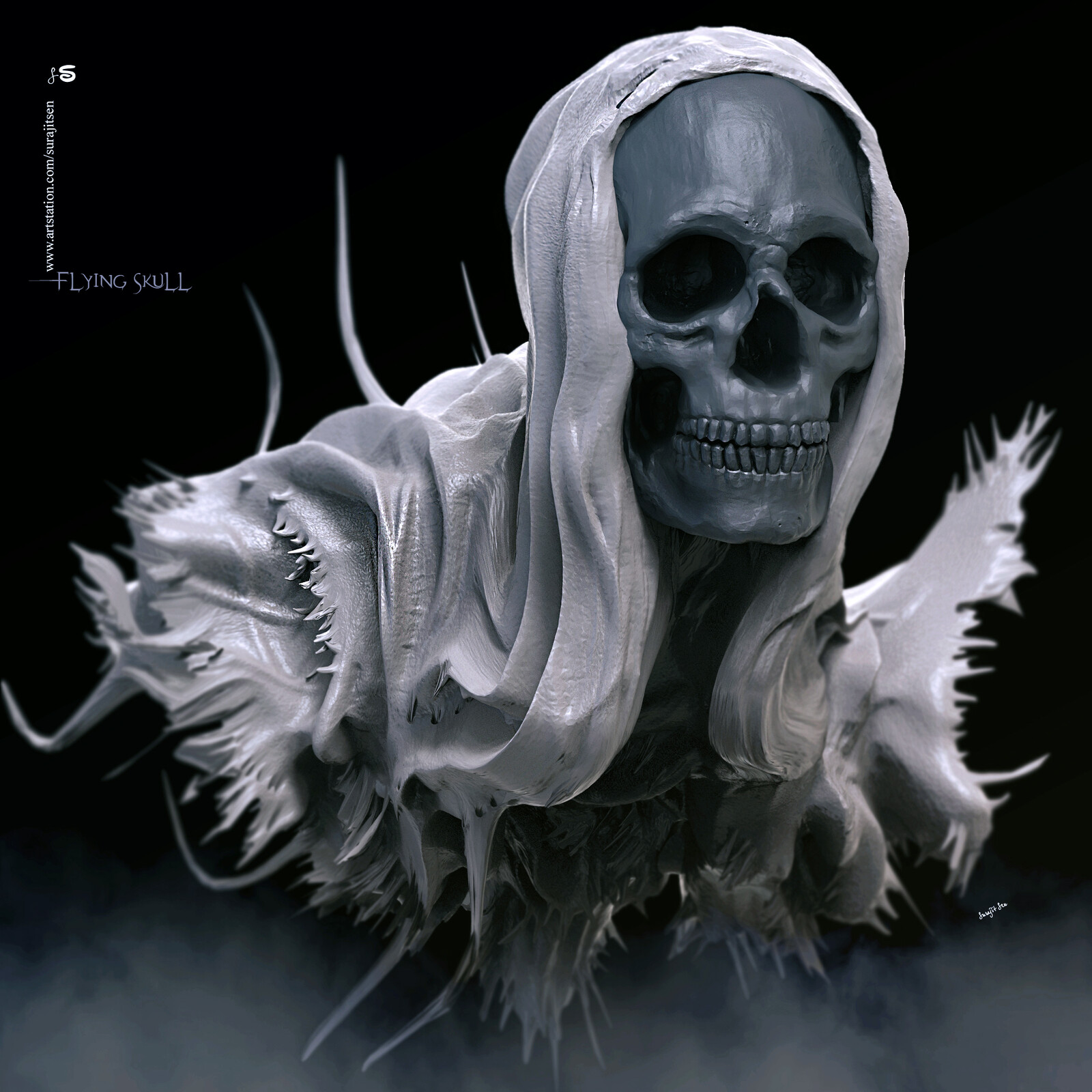 Flying Skull. My free time speed Digital Sculpture. Played with brushes.