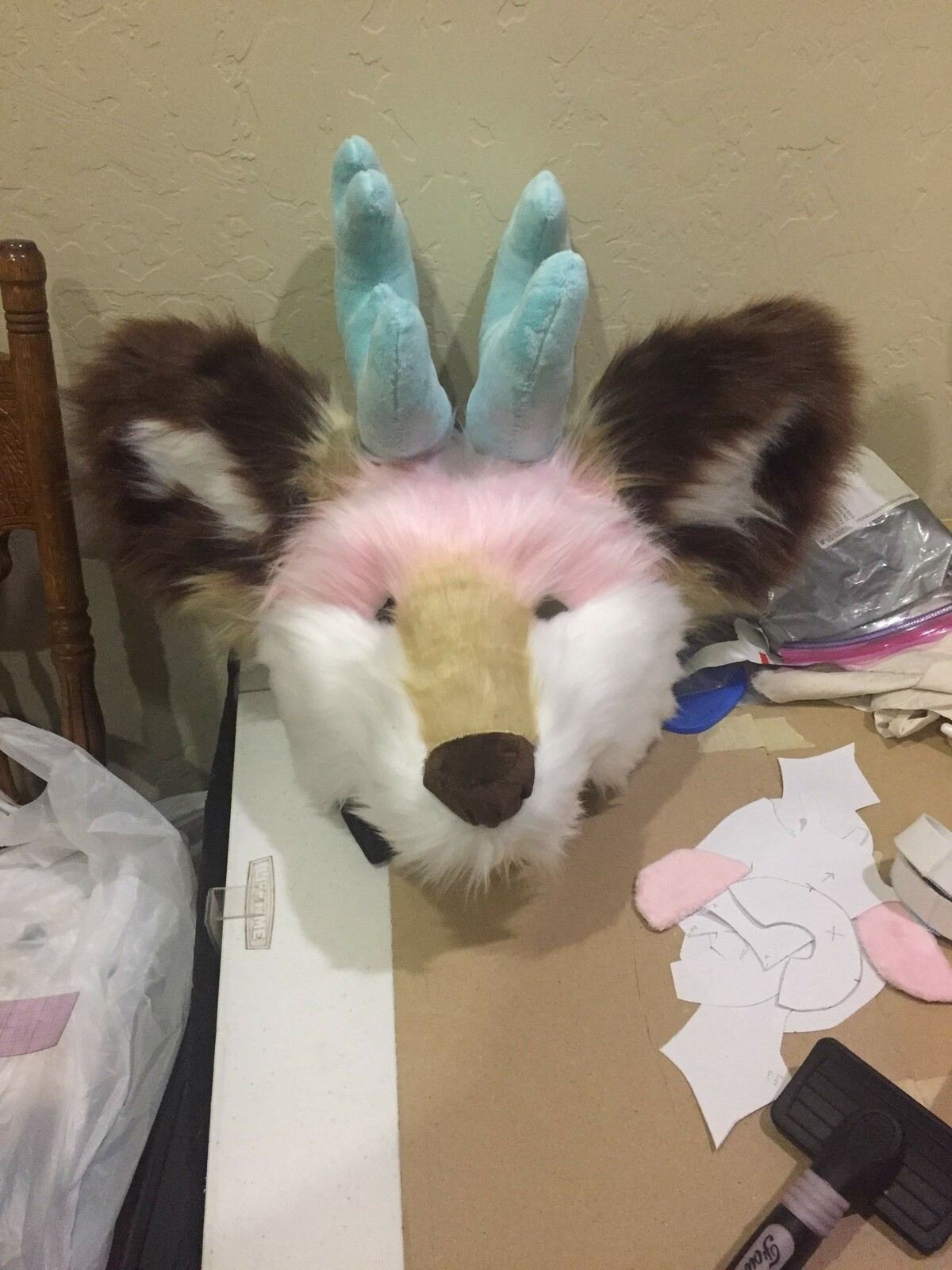 - Sewn & Unshaven Faux Fur laid on the foam base