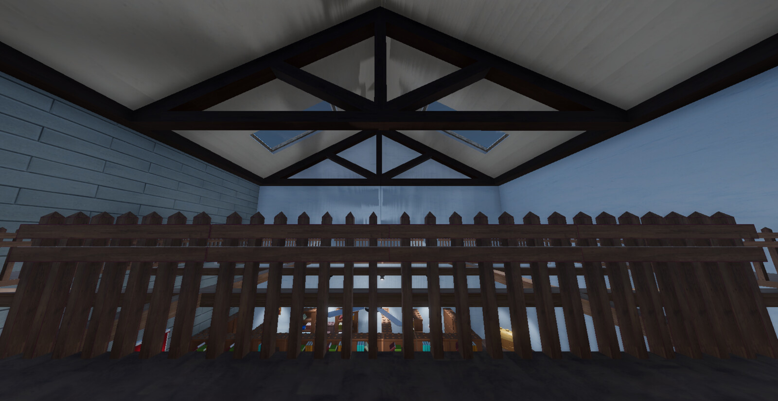The fencing I textured as well as a closer look at the roof.