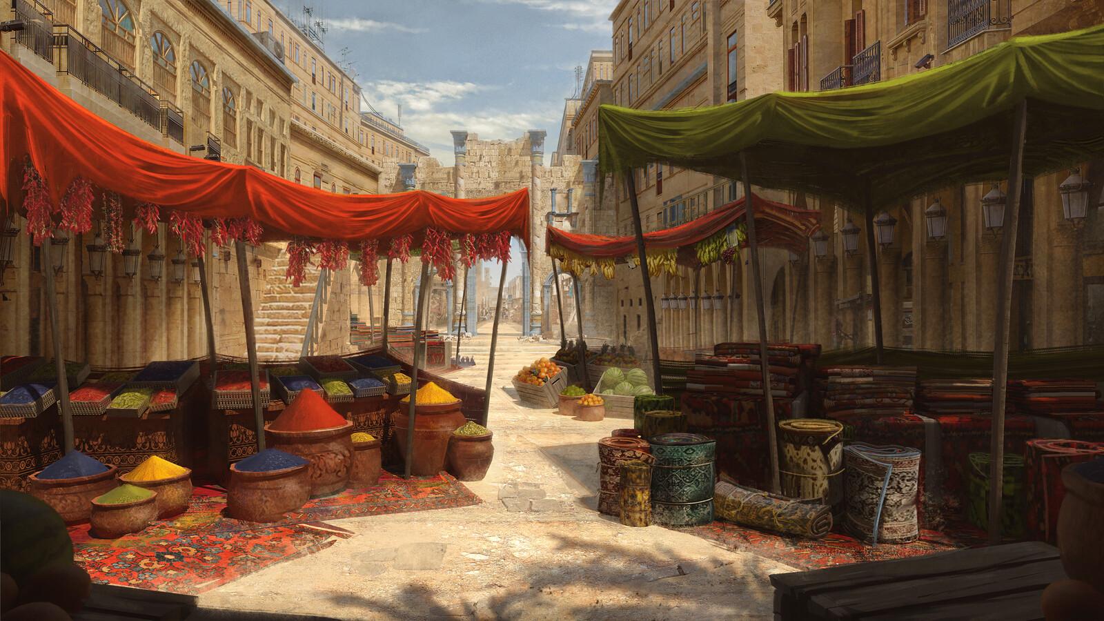 Middle eastern market stalls