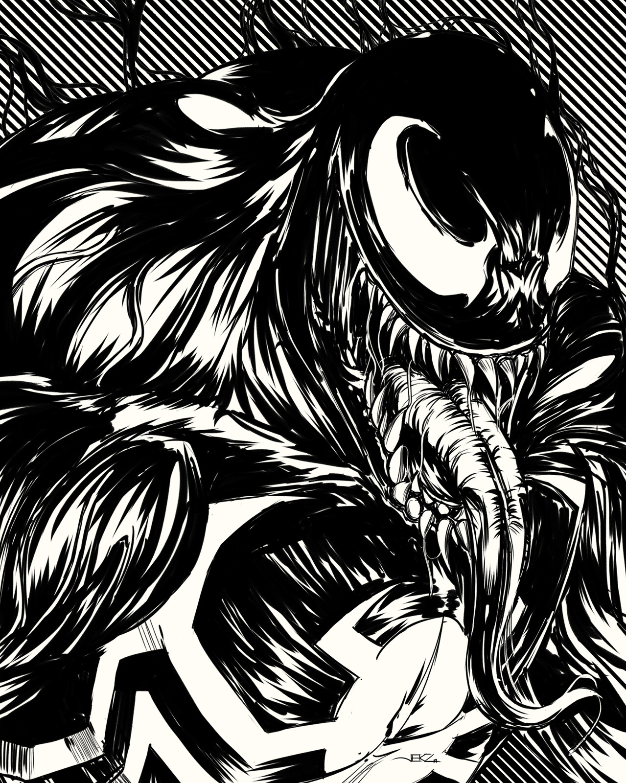 Inktober 2019 (Day 19/31) - Venom of Marvel Comics  Booy, this guy, enjoyed doing the anatomy of this one. 🤓