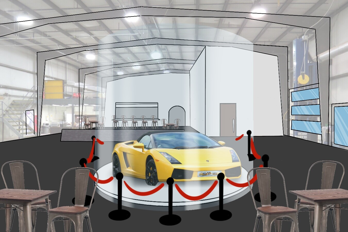 The centerpiece of the restaurant will be a luxury car, as ad space for a dealership, spinning on a display platform, encased in protective glass and sleek velvet rope.  ... *Read more in the description*
