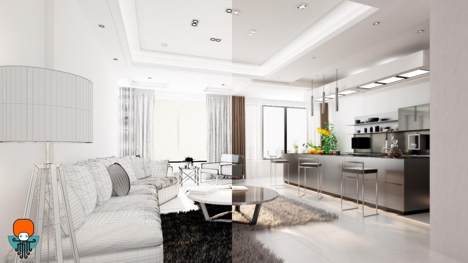 Two parts, interior design process