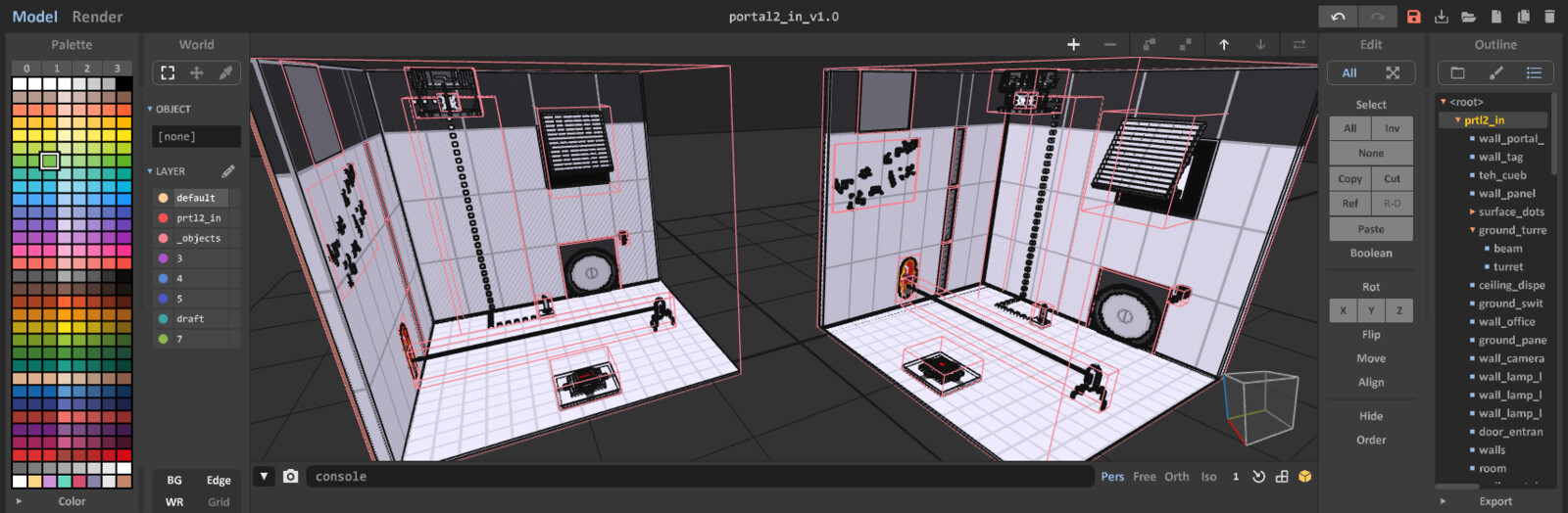 One Room: Portal 2 MagicaVoxel interface screenshot - November 2019