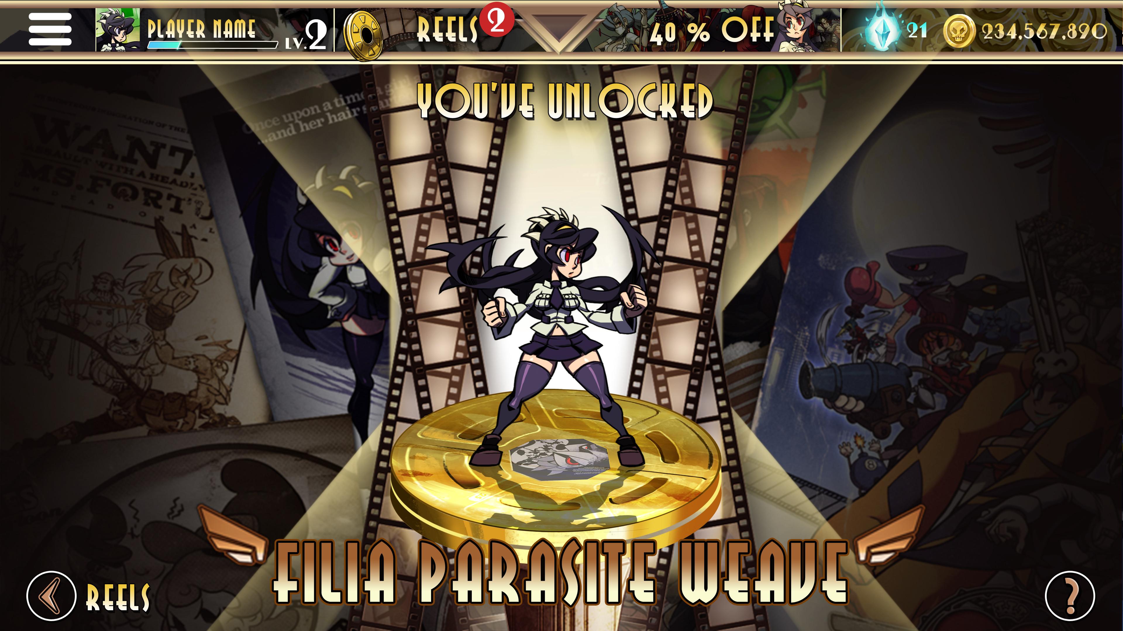 Skullgirls UI Character Unlock