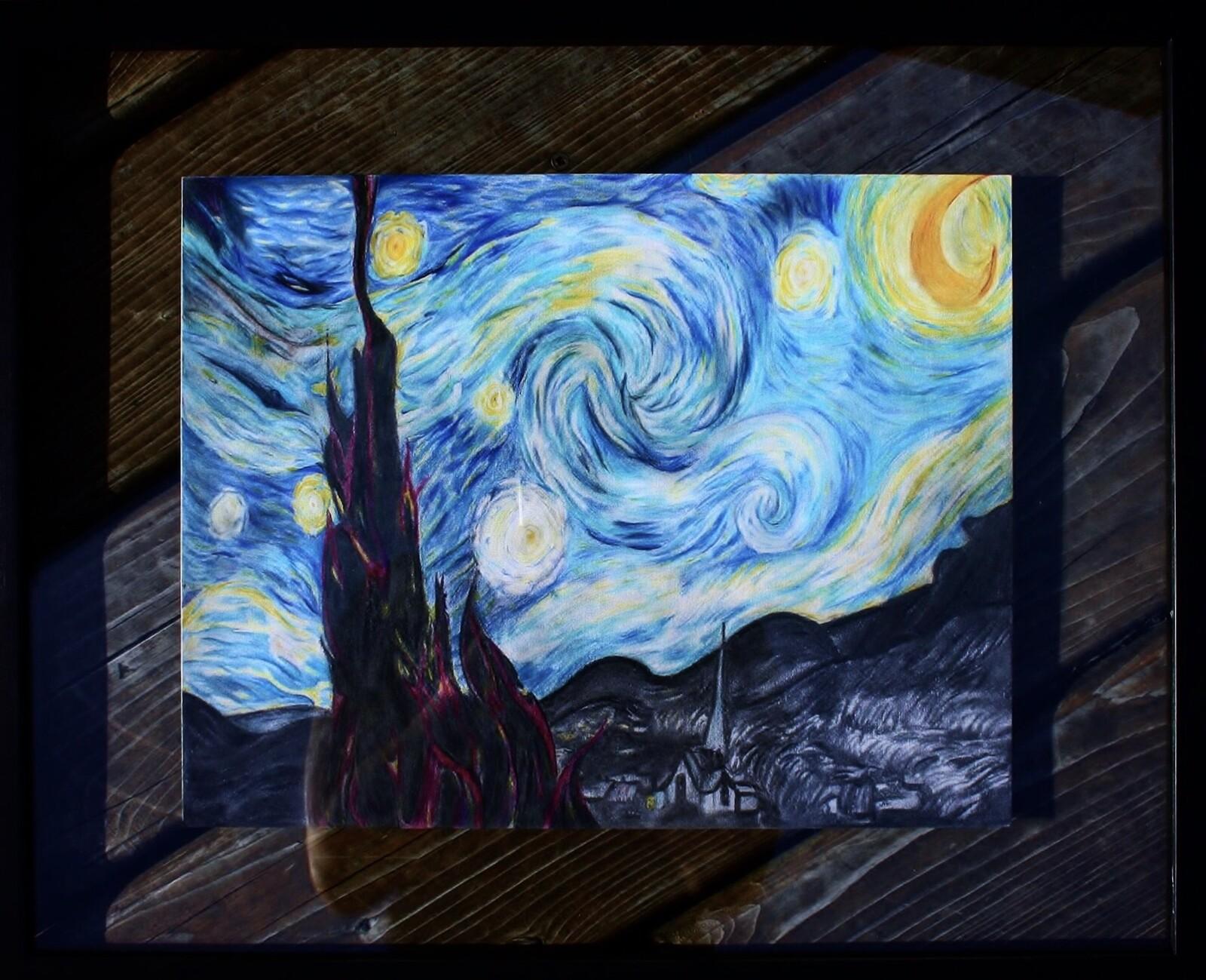Artstation Pencil Drawing Starry Night Reimagined Chelsea Noyon Artist