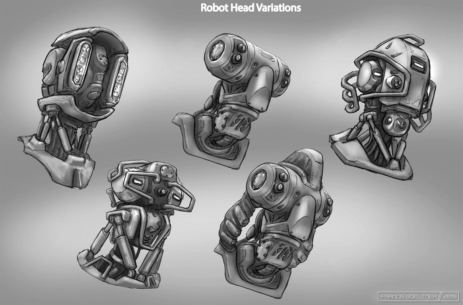 Exploratory sketches of head designs