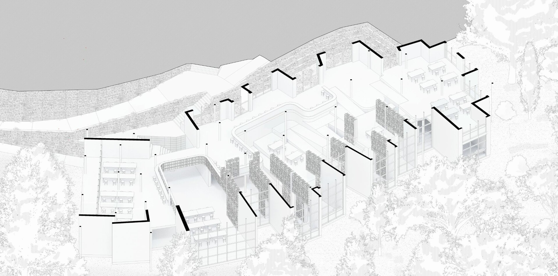 sectioned axonometric view
