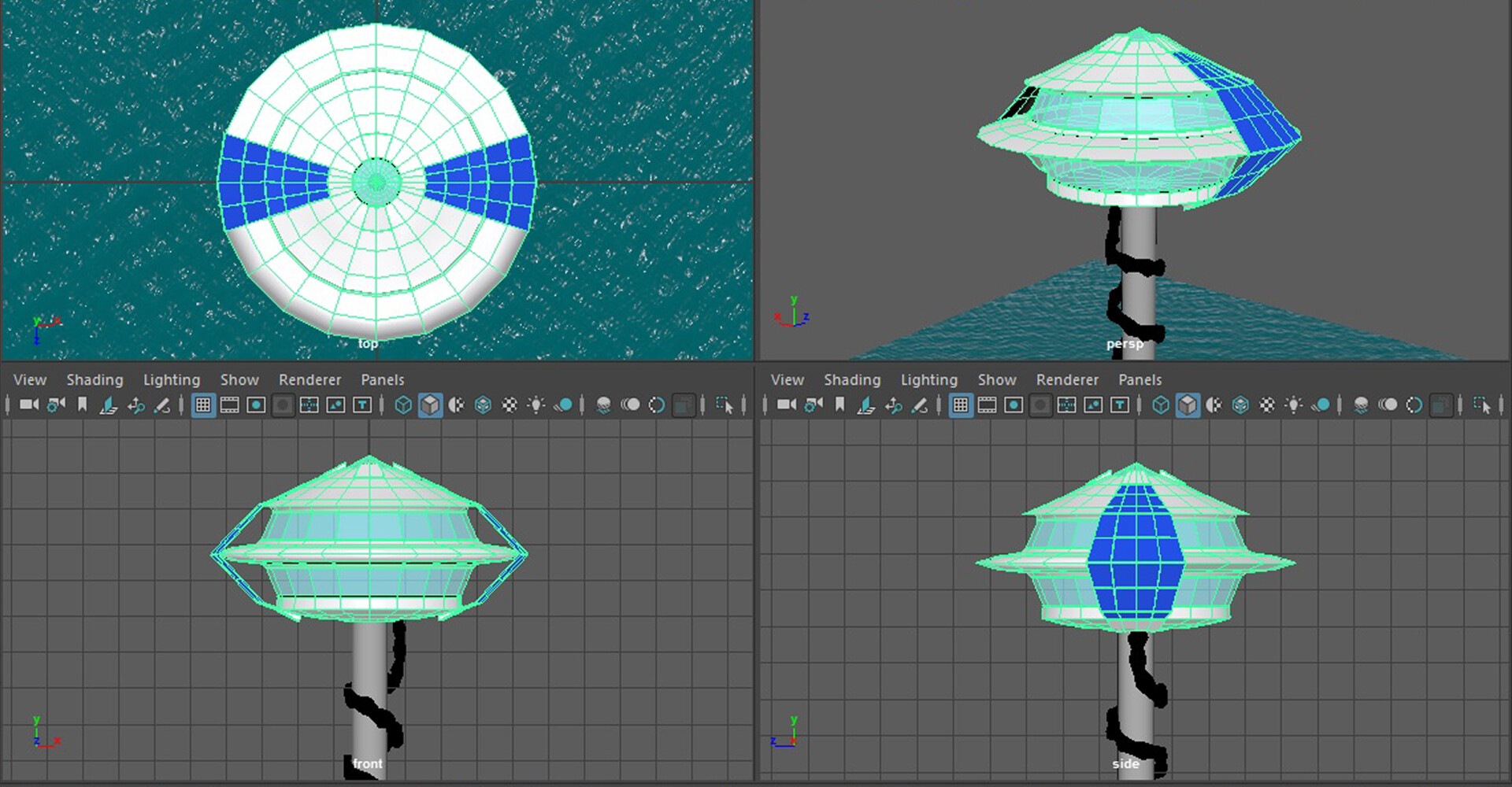 Various angles of the futuristic home 3D model