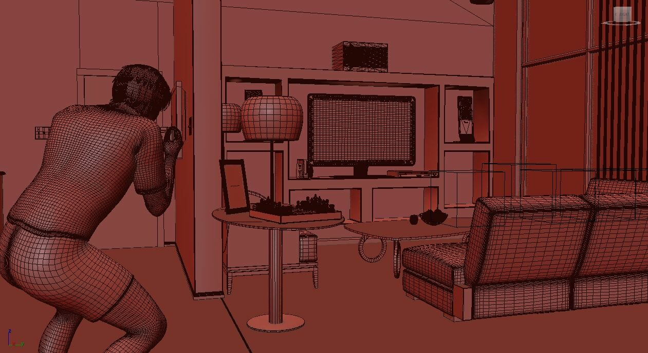 This screenshot is to demonstrate the use of a 3D Character I've posed to only appear in reflections.  This is best demonstrated in the rendering above with the lamp.  Notice the reflection in the lamp.
