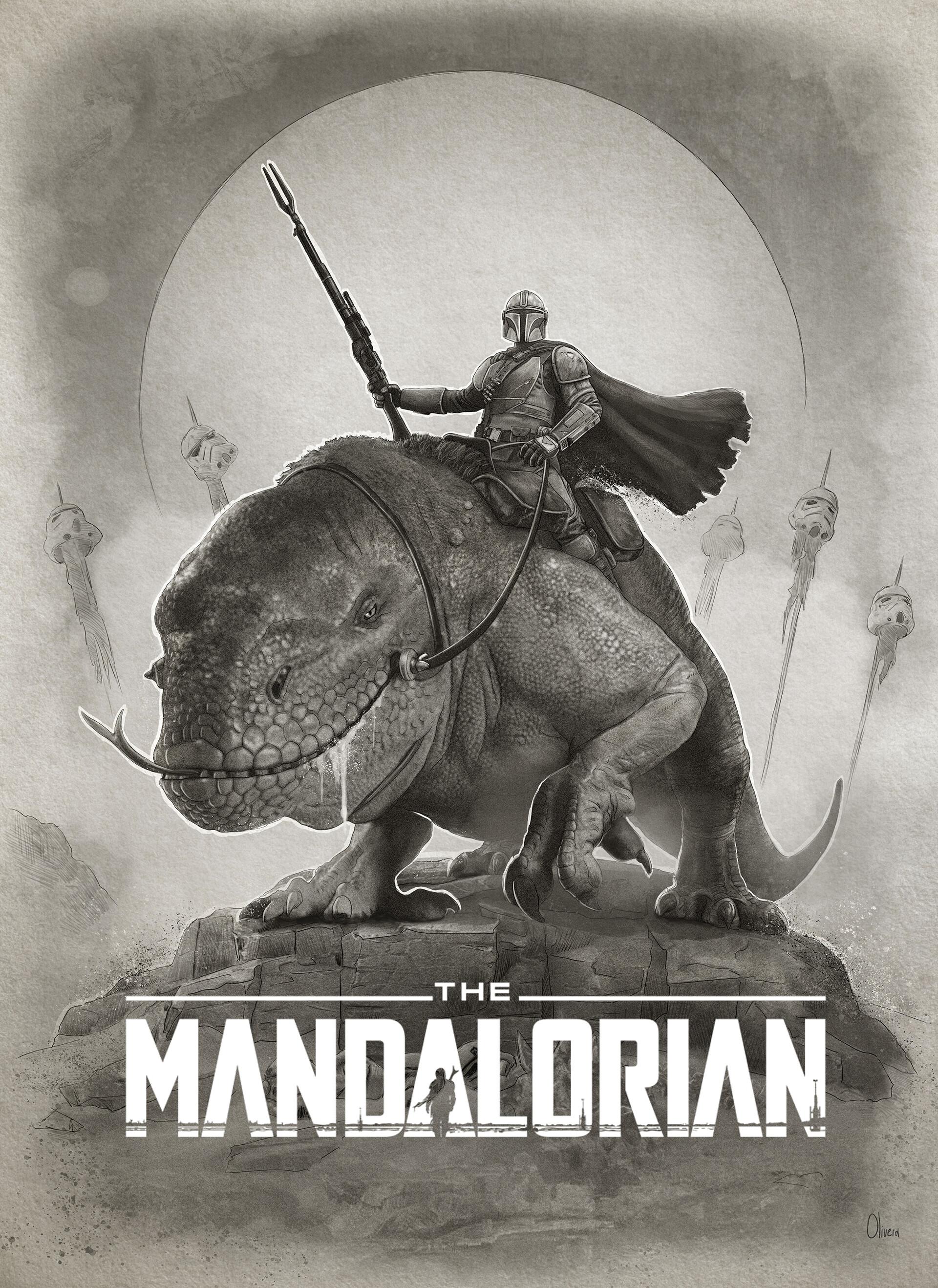 Pablo olivera star wars the mandalarian poster print v10 dibujo baja