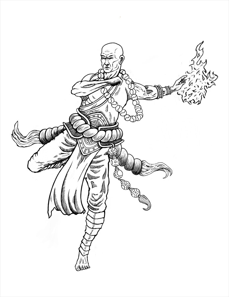 Warrior Monk - Character Design Linework