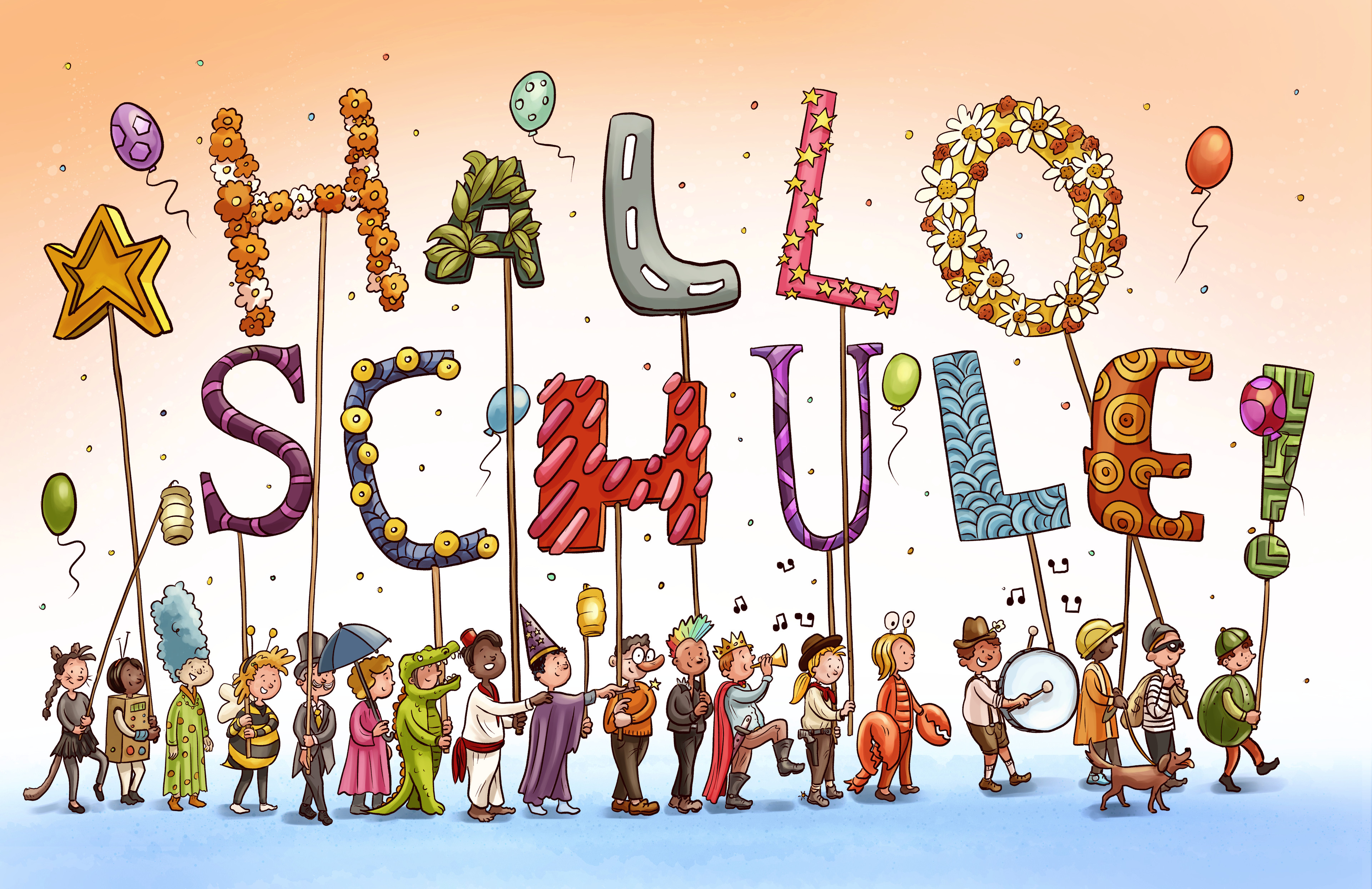 """Carneval themed banner double page for February issue of """"Hallo Schule"""""""