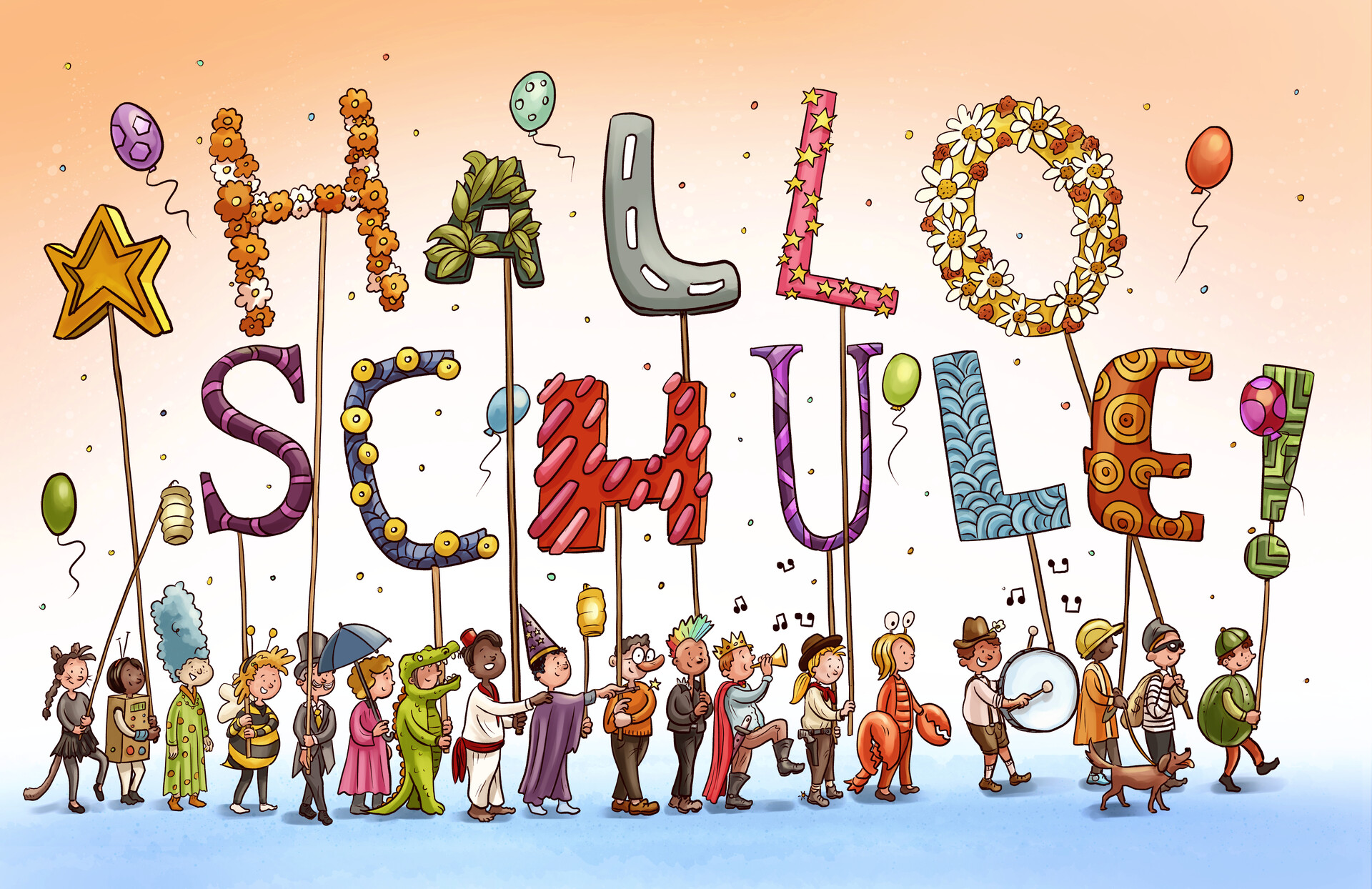 "Carneval themed banner double page for February issue of ""Hallo Schule"""