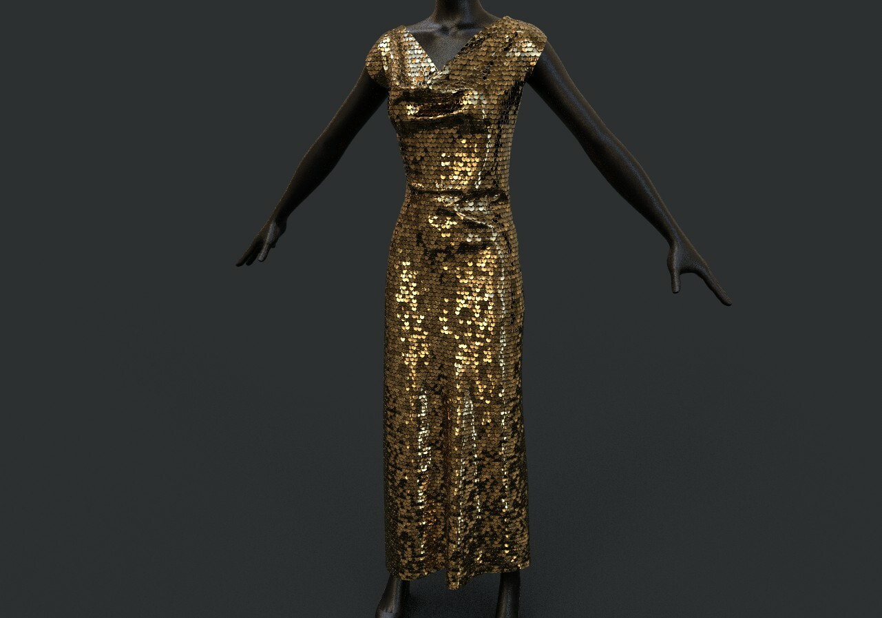Sequin Material on a rough draped dress model made in Marvelous Designer
