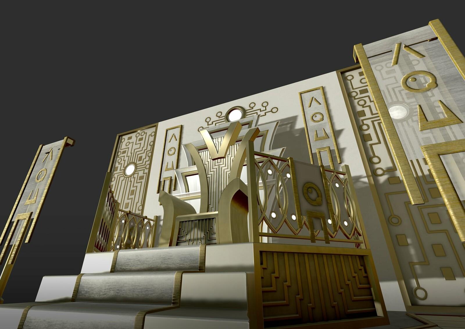 Futuristic throne room. Unity screenshot.