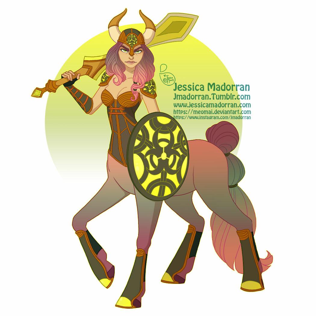 Jessica madorran character design warrior centaur 2019 artstation