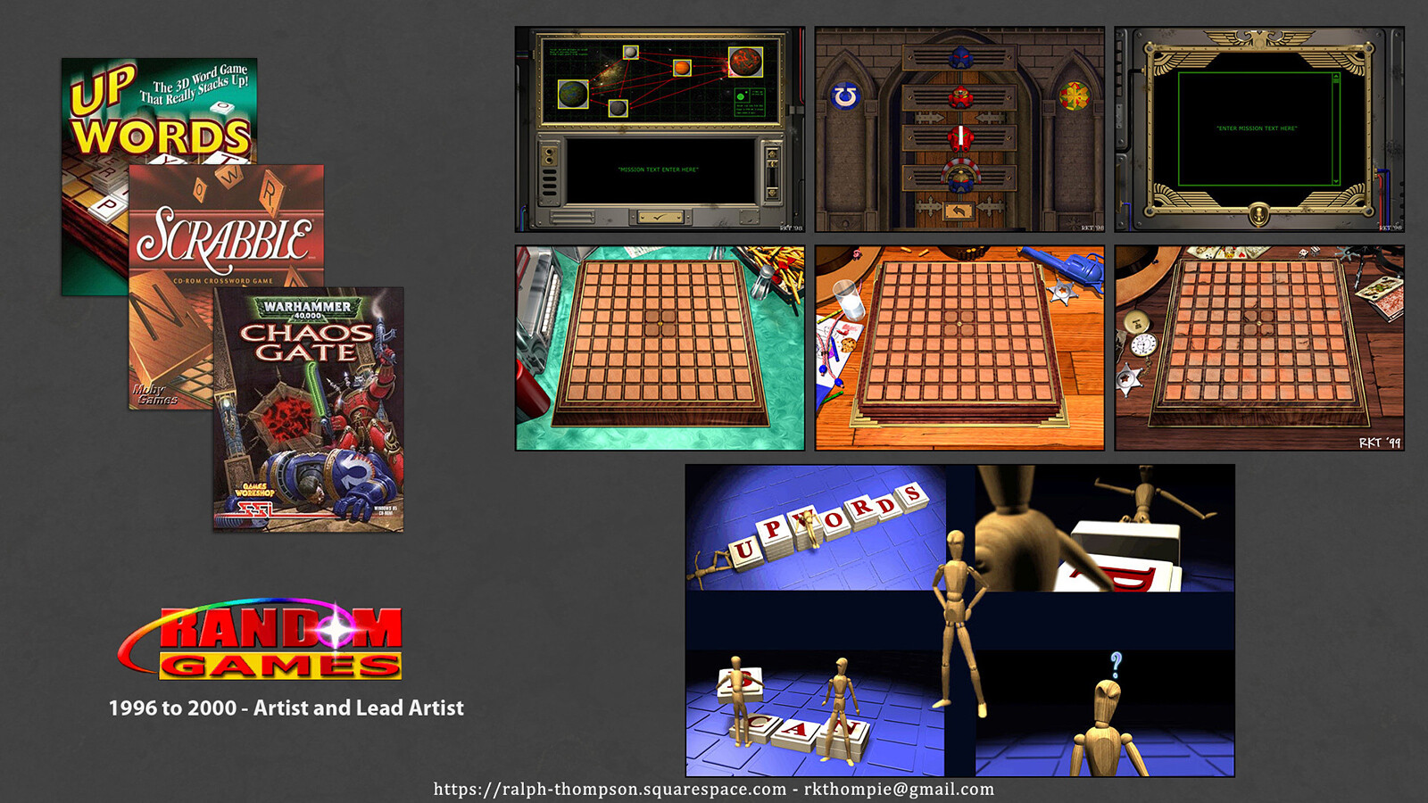 Shots from early work in my career, while at Random Games.