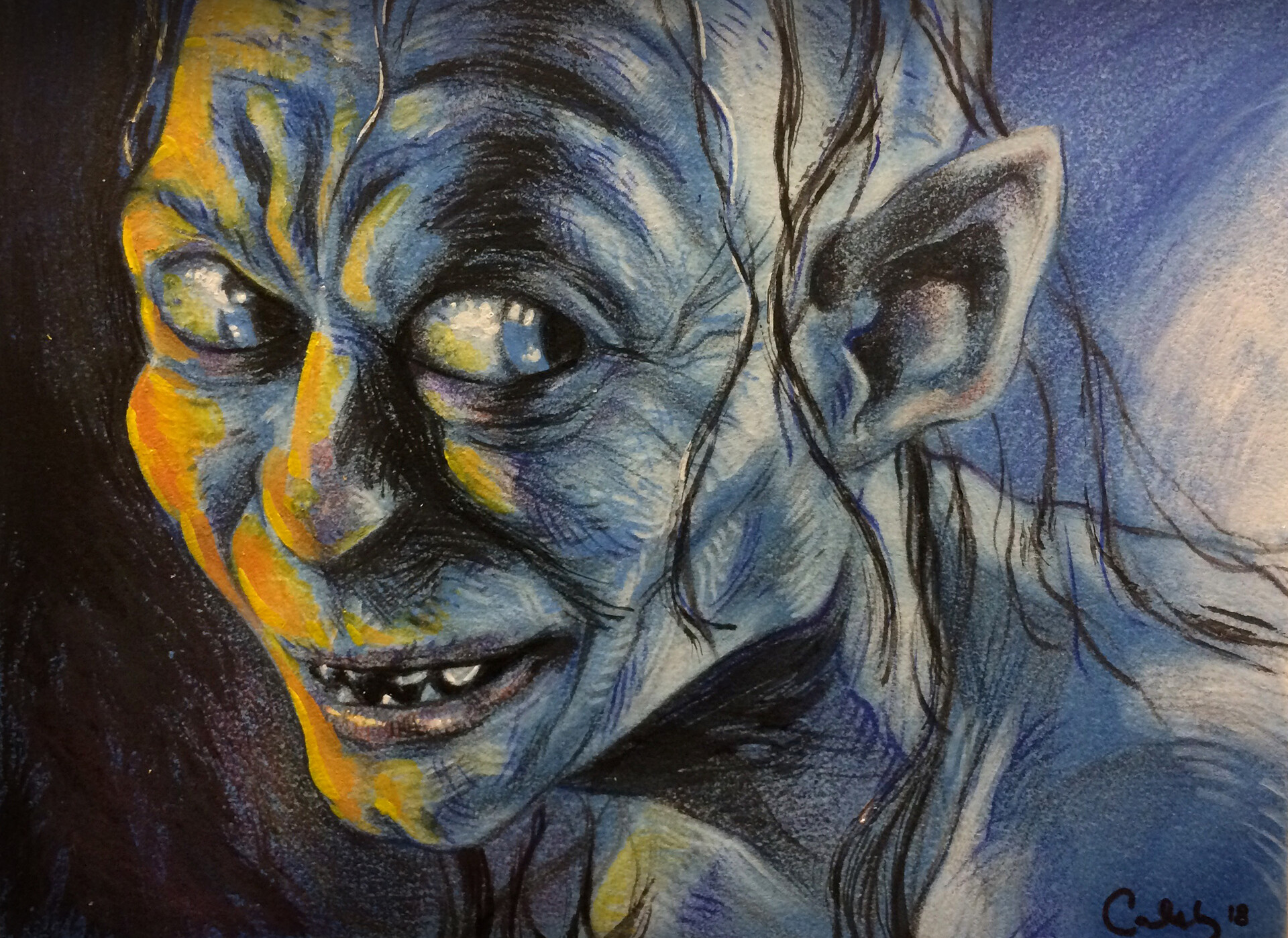 Caleb prochnow lotr gollum mixed media demo by calebmprochnow dcsgk24
