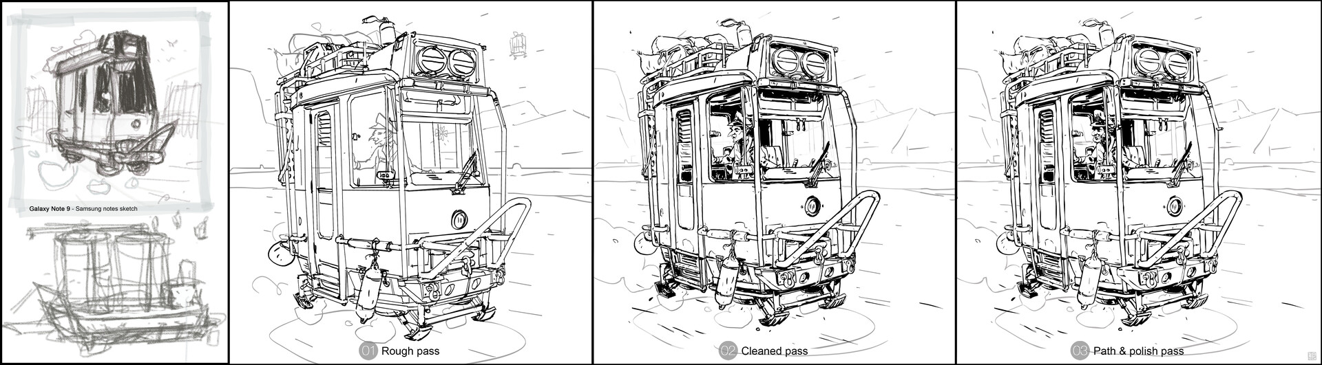 Sketch line process from smartphone to PC...