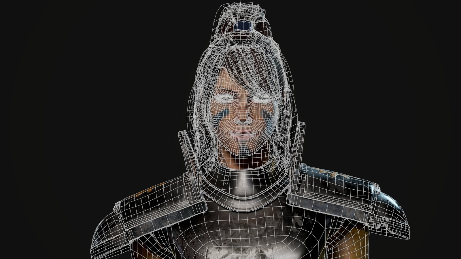 Wireframe close-up on face