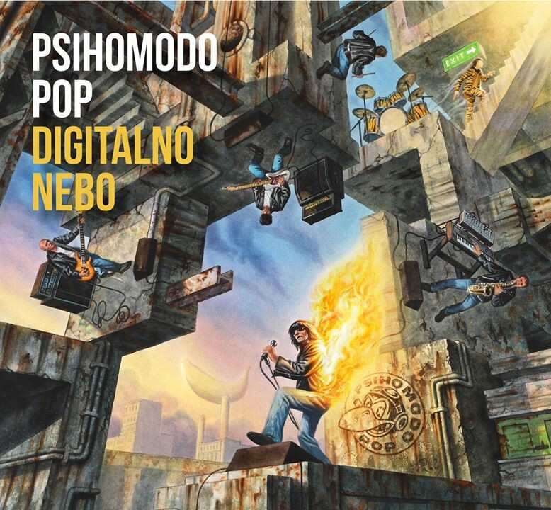 "Published cover for the rock album  ""Digitalno Nebo"" (""Digital Sky""), for the PSIHOMODO POP band, under Dallas Records label, November2019