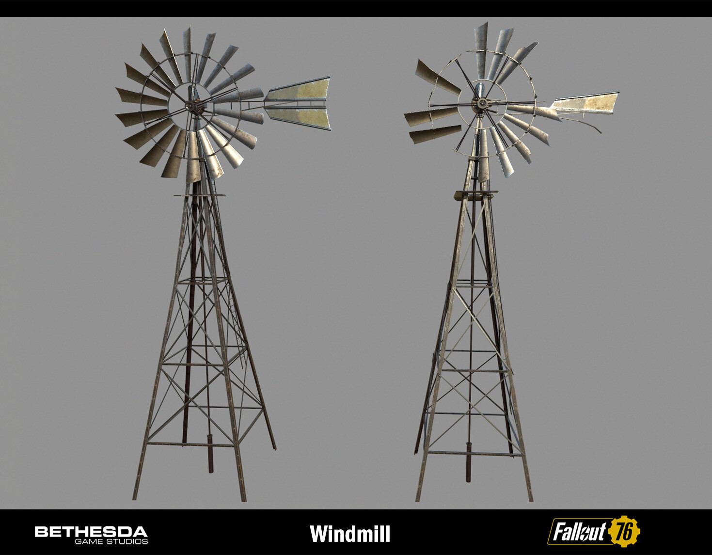 Windmill intact and damaged