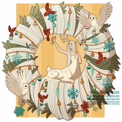 Jessica madorran character design centaur christmas wreath 2019 artstation
