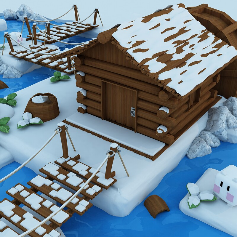 Low poly Log Cabin - Game ready