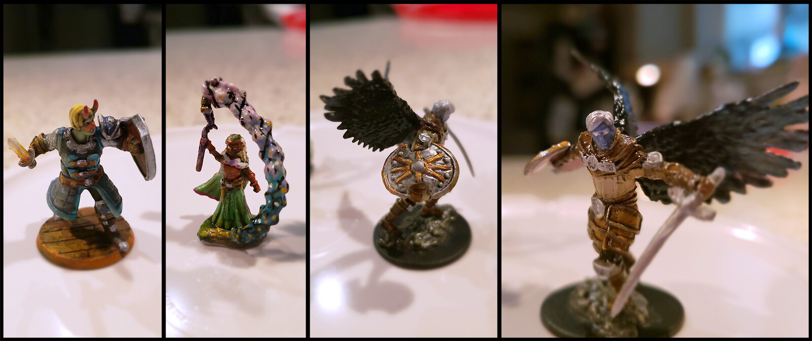 """The actual figures I painted. Helthake  was ordered from HeroForge, the other two were in """"halfling sorcerer"""" and """"aasimar paladin"""" box sets."""