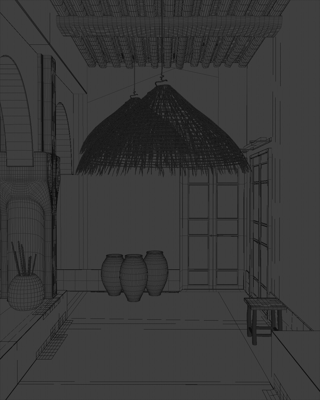 Wireframe viewport render