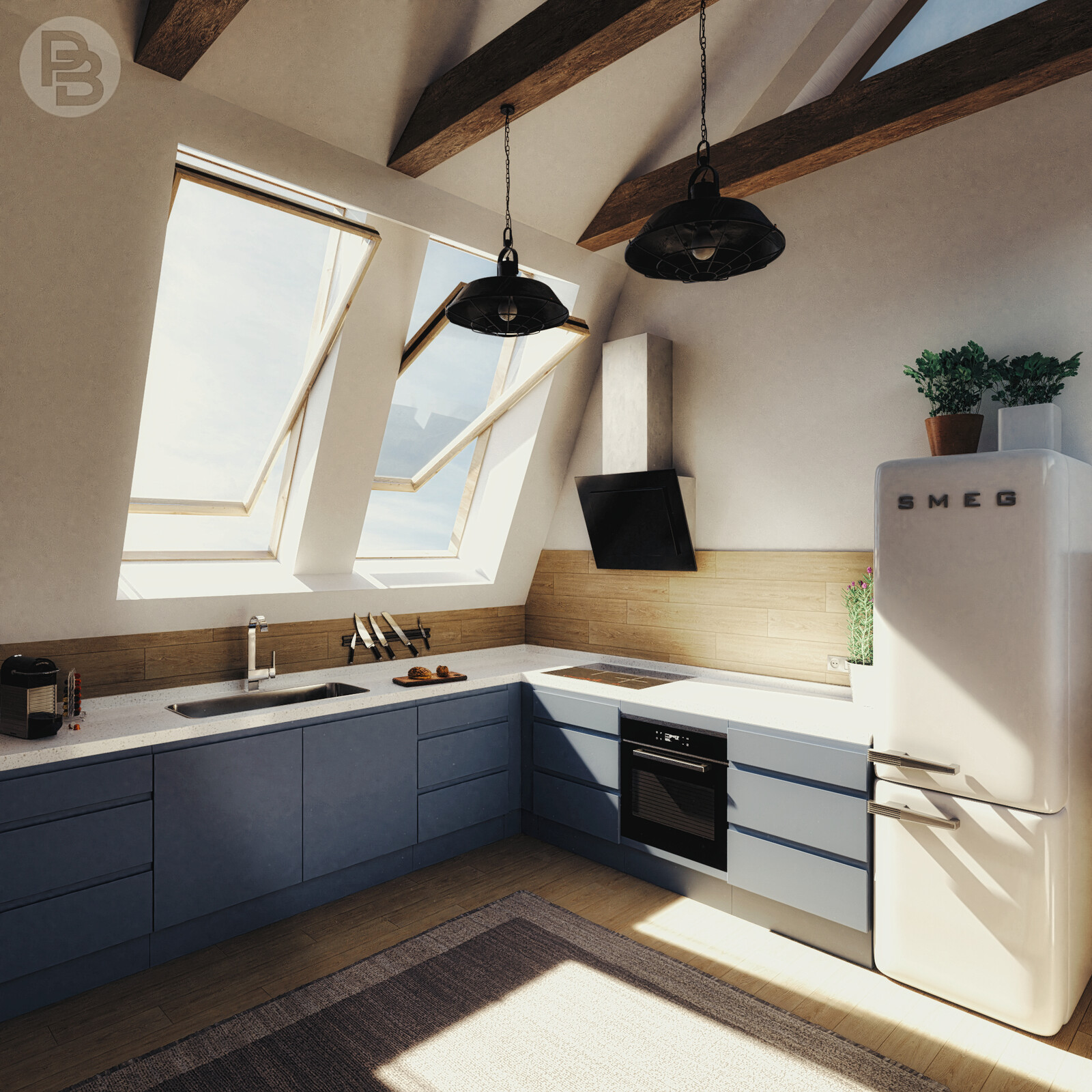 Kitchen in attic
