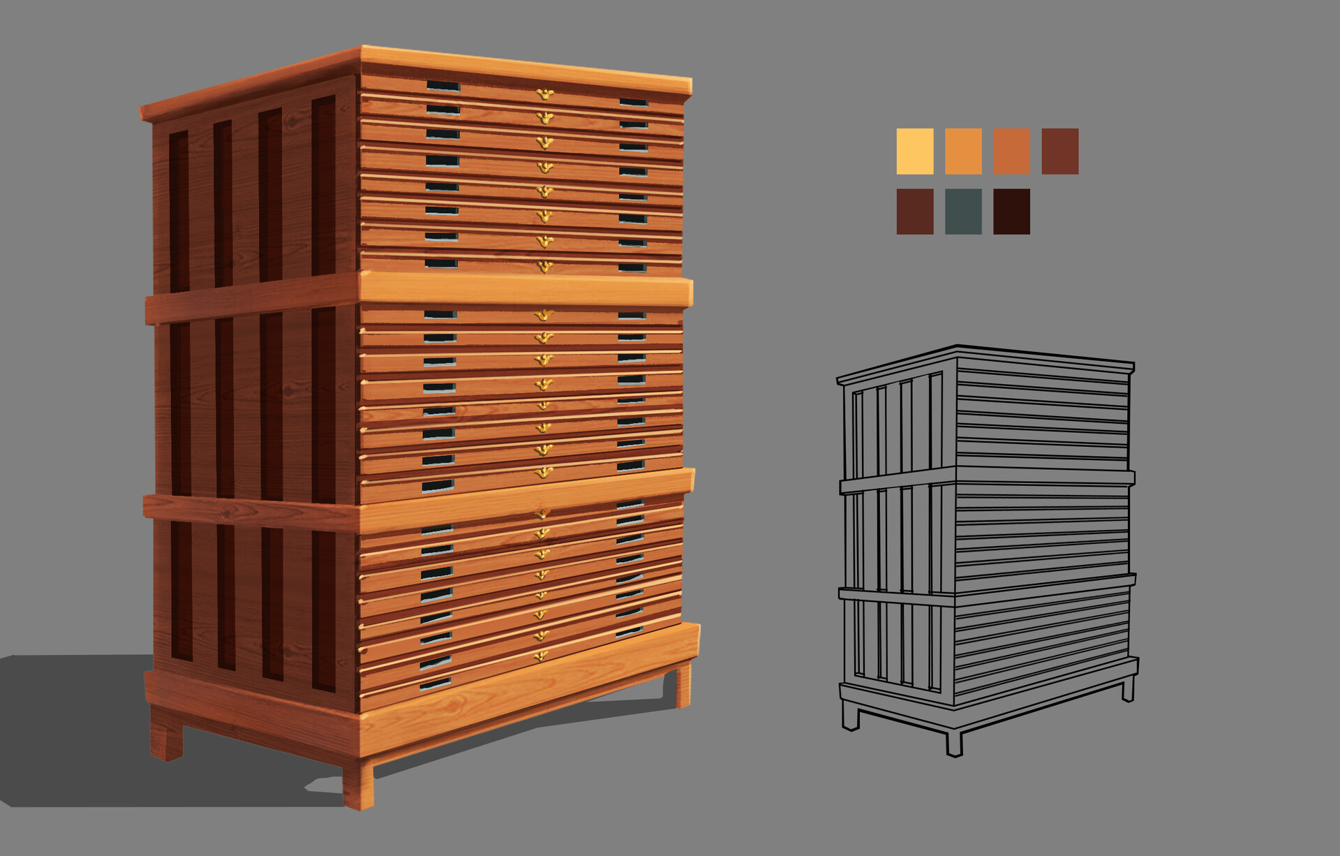 Prop Design of contracts & paper file cabinet from the Edwardian Era.