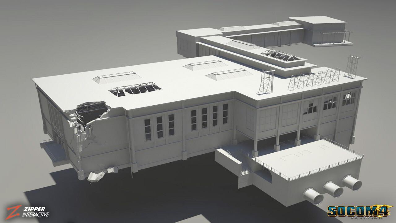Fluid Dynamics, Dam control building. Clay render.