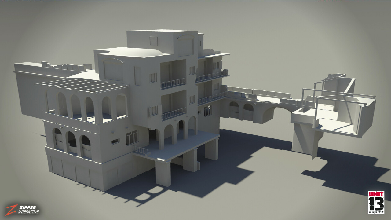 Residential area, clay renders of housing.