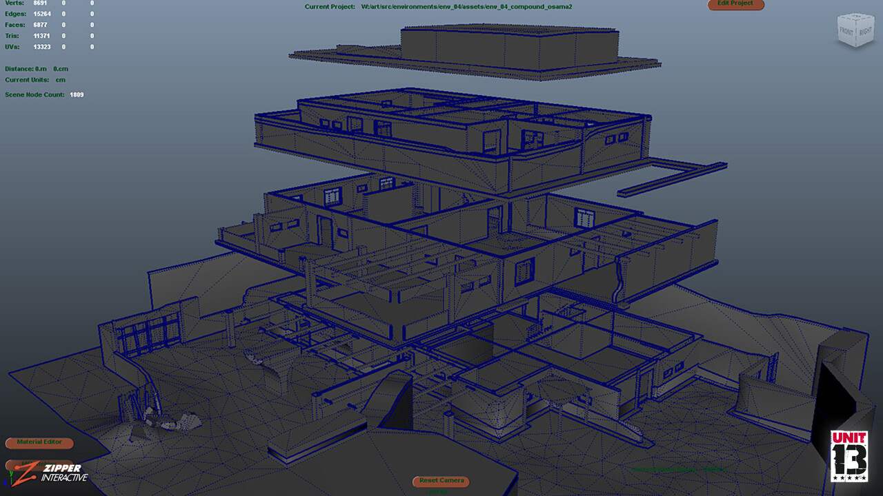 The Walled Compound, exploded wireframes.