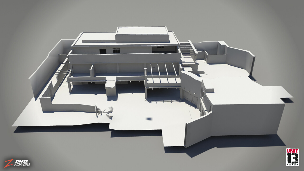 The Walled Compound, clay render.