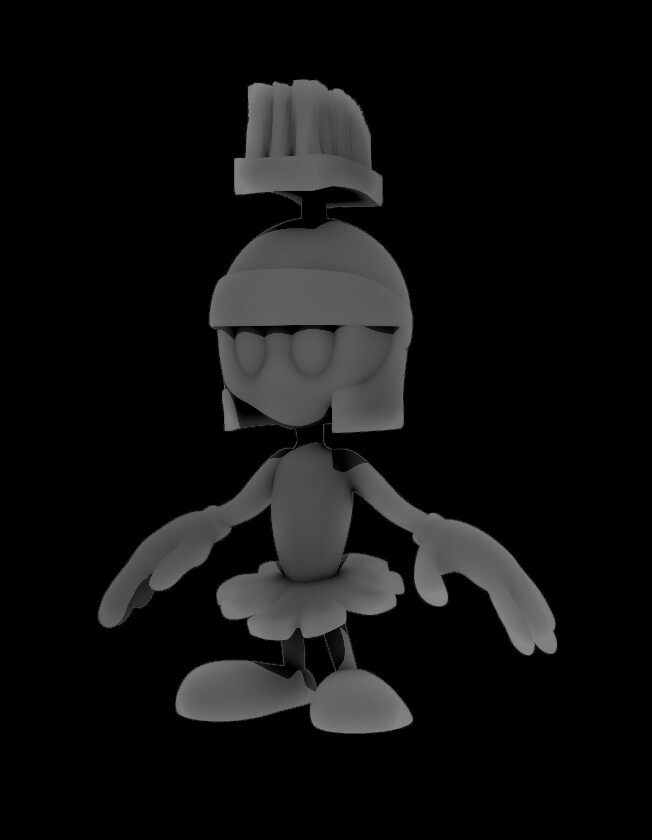 Marvin The Martian Zbrush Sculpt, Depth, AO, Shadow, SSS, Mask