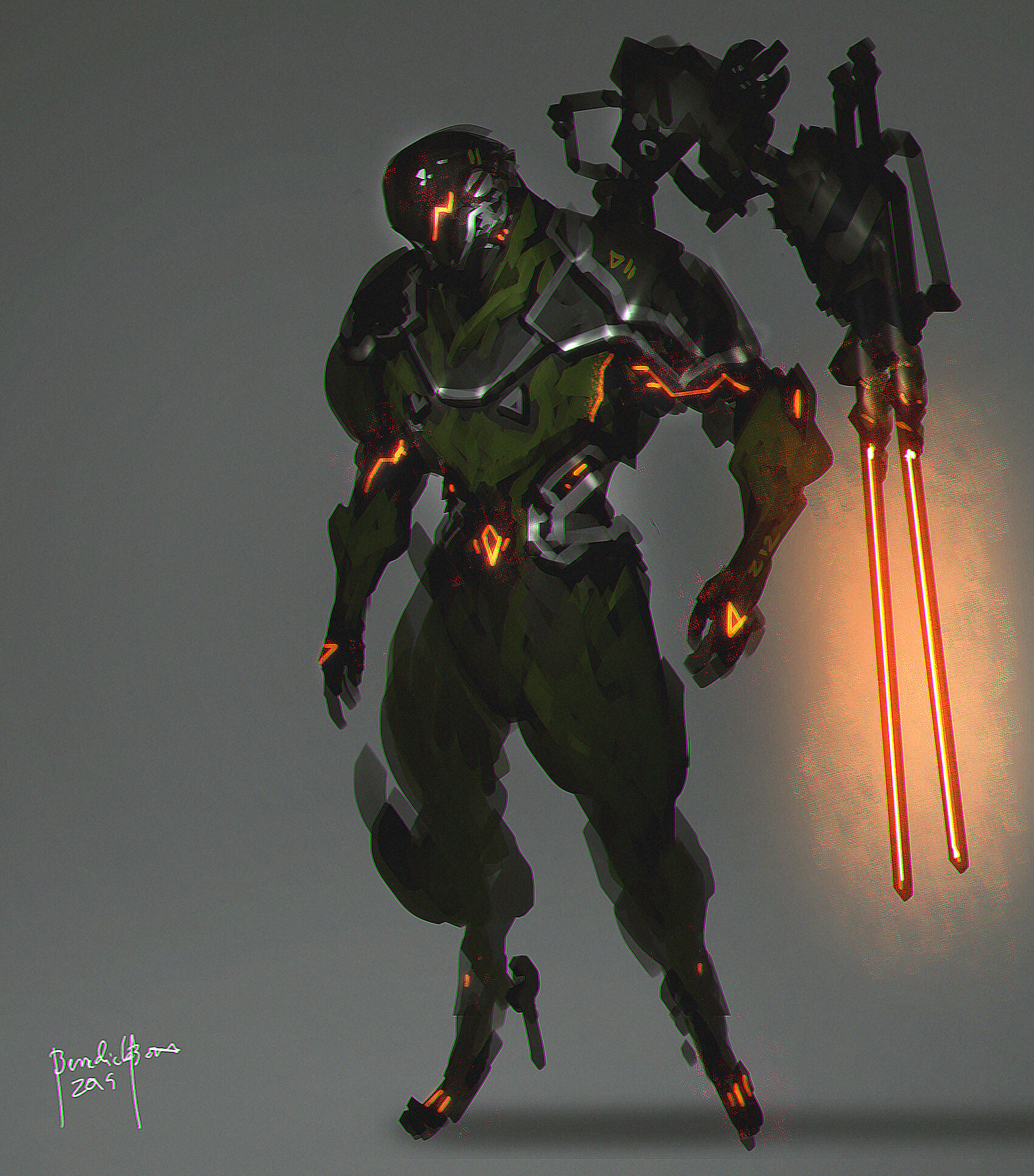 concept art. Character design. cybernetic Human (Hero) - his weapon is 2 heatswords attached to his back. it can attack independently or detach it from its holder.