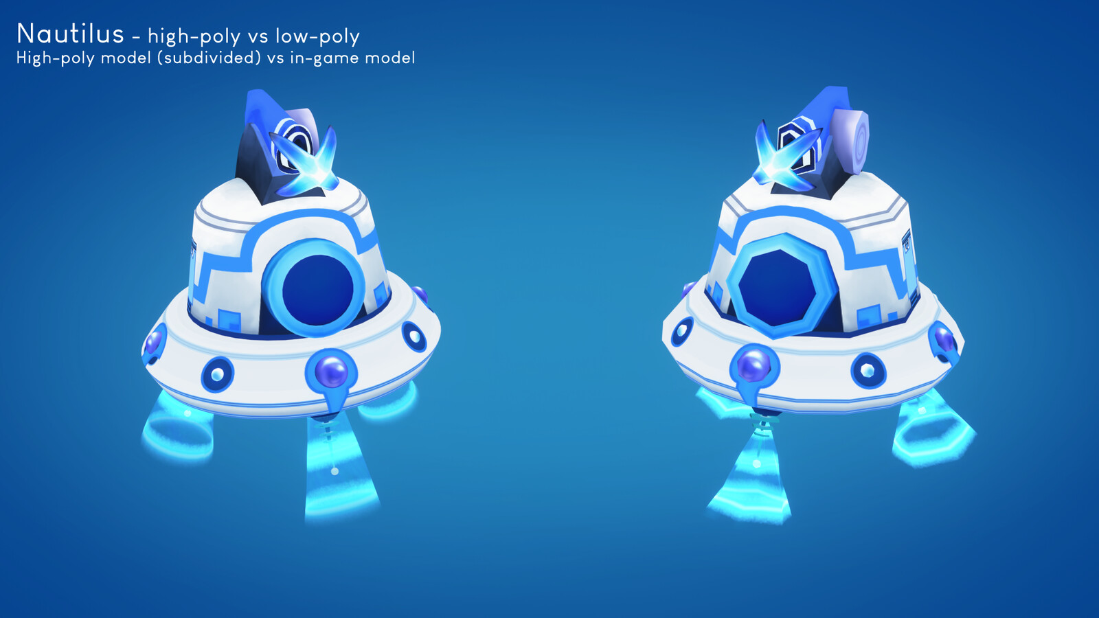 Comparison between the high-poly (subdivided) and low-poly (game-ready) versions.