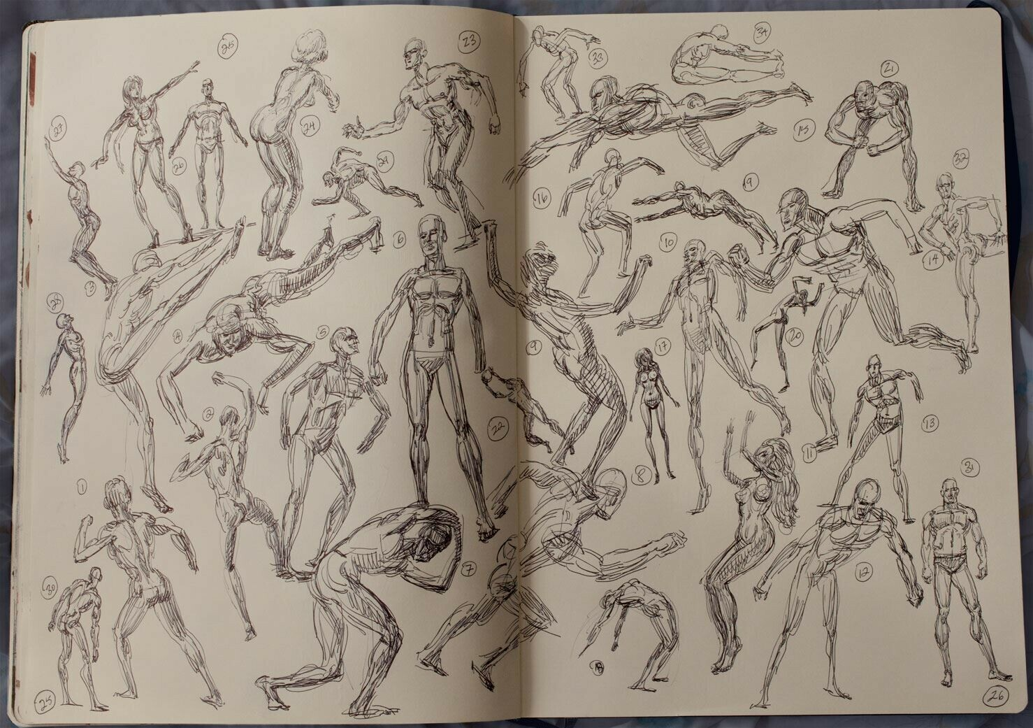 Keep a sketch book and draw manikin figures over and over, male and female, until drawing people is as free as hand writing.