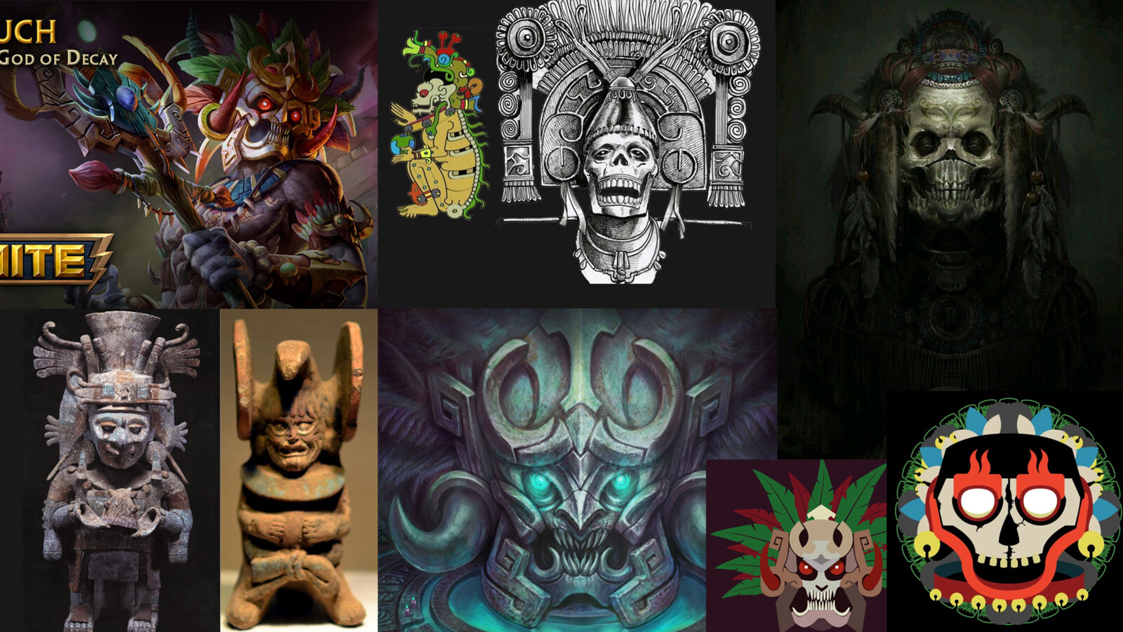 Ah Puch, god of Decay/Death in Mayan Culture - visual inspiration - Brian
