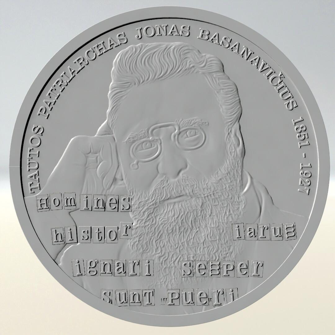 Jonas Basanavicius coin relief