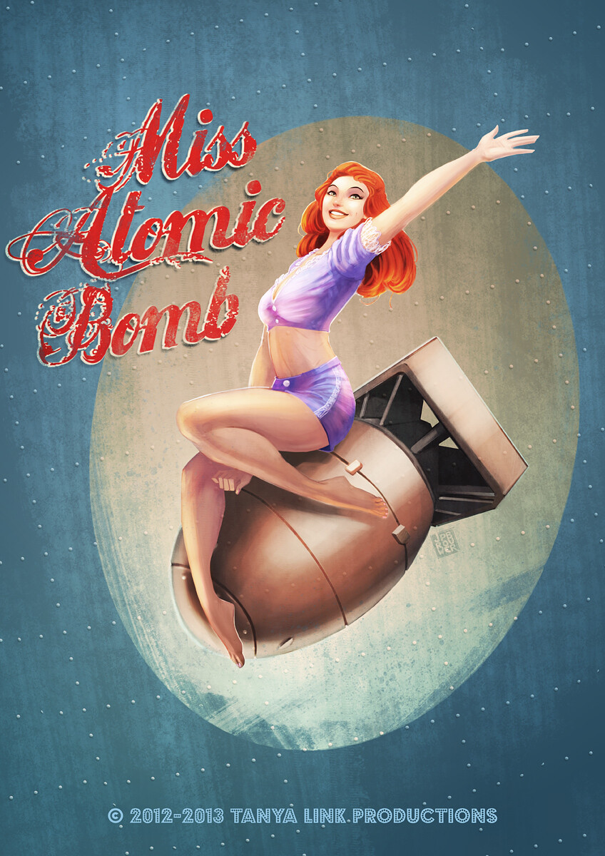 Original promo art for 'Miss Atomic Bomb', a musical featuring Catherine Tate.